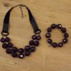 Alfani Beaded Purple Layered Necklace Bracelet Set